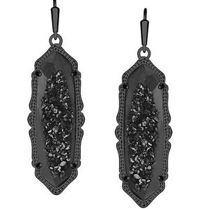 LIKE NEW BLACK DRUSY EARRINGS